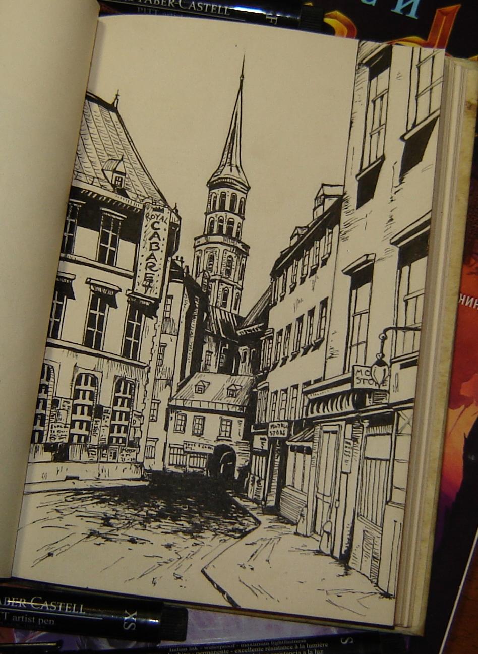 Старая улица с колокольней